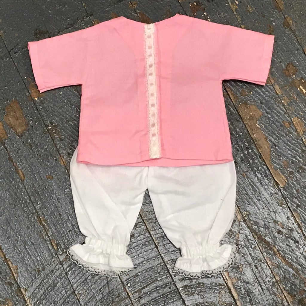 "18"" Doll Clothes Outfit Pink Lace Blouse Shirt Top and White Lace Pants"