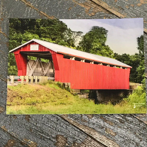 Indian Lake Post Card Huntsville Logan County Covered Bridge Front