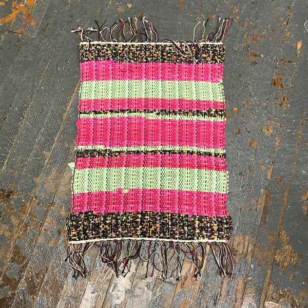 #27 Pink Black Green Rag Weaved Table Runner Rug by Morgan