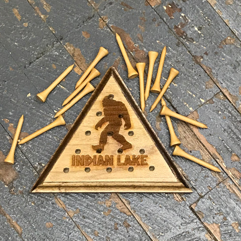 Wooden Tricky Triangle Golf Tee Peg Game Indian Lake Ohio Bigfoot Sasquash