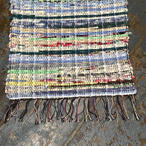 #66 Pastel Multi Rag Weaved Table Runner Rug by Morgan