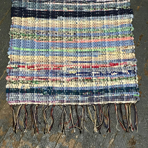 #59 Pastel Multi Rag Weaved Table Runner Rug by Morgan
