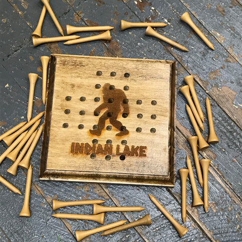 Wooden Tricky Square Solitaire Golf Tee Peg Game Indian Lake Ohio Bigfoot Sasquash