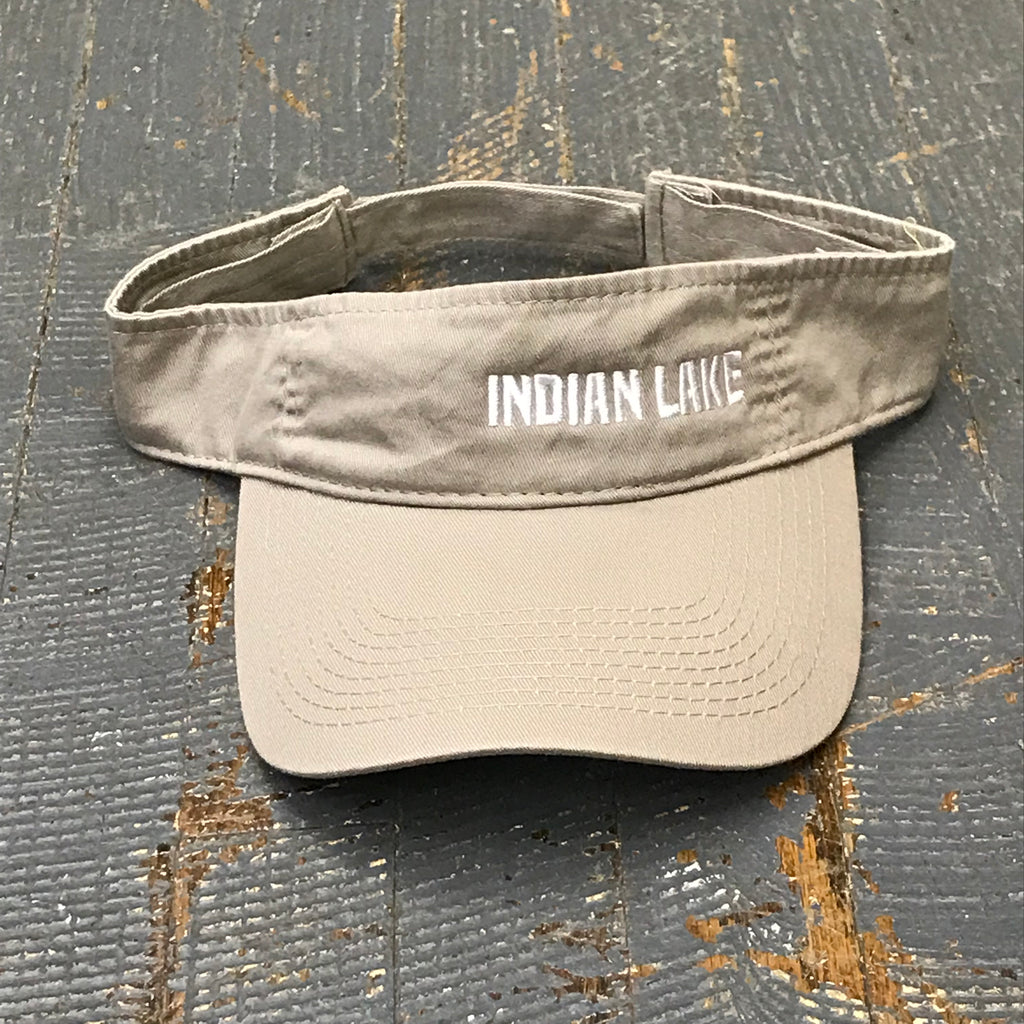 Indian Lake Ohio Hat Khaki Tan Embroidered Visor