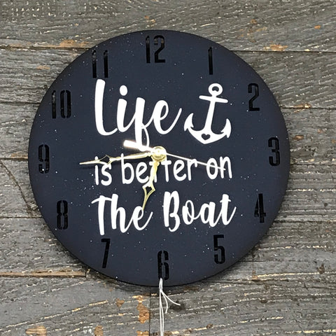 "9"" Round Nautical Wooden Clock Painted Navy Blue Life is Better on the Boat"