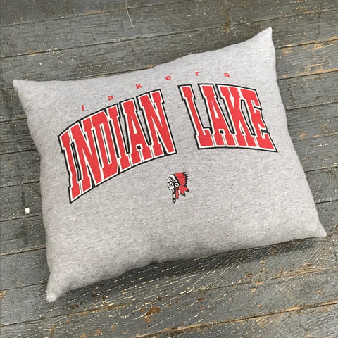 Memory T-Shirt Pillow Handmade Fabric Tee Shirt Indian Lake Lakers Mascot