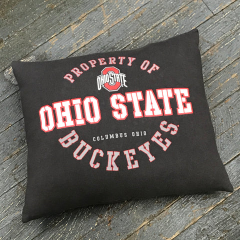 Memory T-Shirt Pillow Handmade Fabric Tee Shirt Property of Ohio State Buckeyes