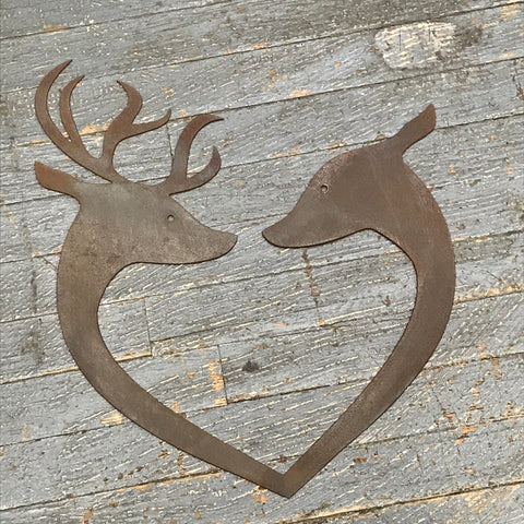 Buck Doe Love Deer Heart Metal Sign Wall Hanger