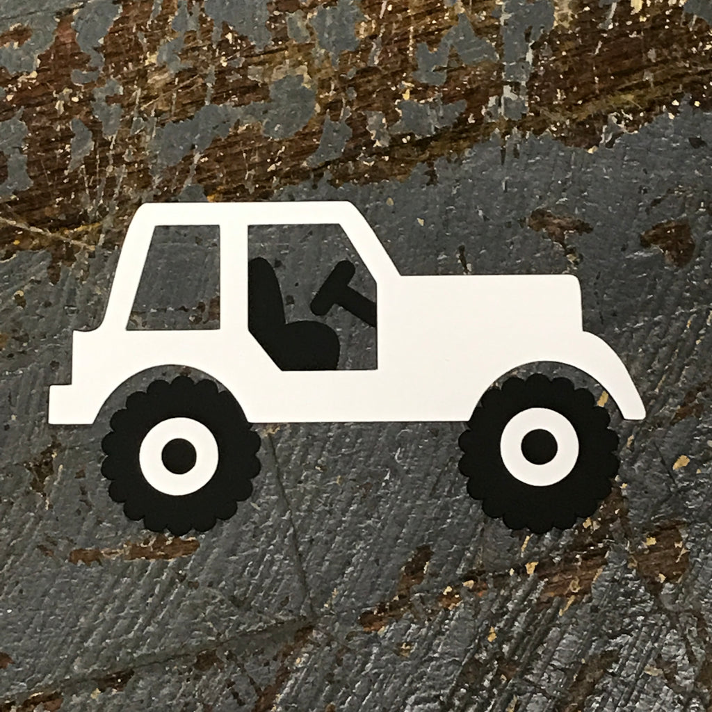 Jeep Handmade Cut Out Paper Scrapbook Embellishment Gift Package Tag White