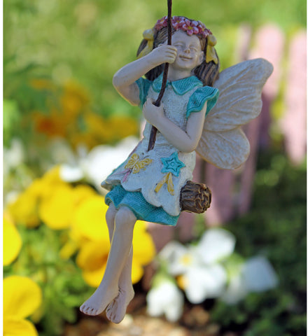 Fairy Garden Fairy Pixie Kelsey with Swing Statue Miniature