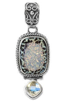Leopard Druzy Quartz Sterling Silver Dangle Pendant
