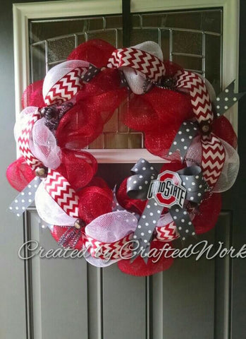 Decomesh Ribbon Ohio State Buckeye OSU Wreath Door Hanger by Crafted Works