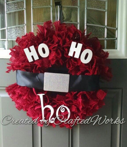 Burlap Santa Rag Wreath Christmas Door Hanger