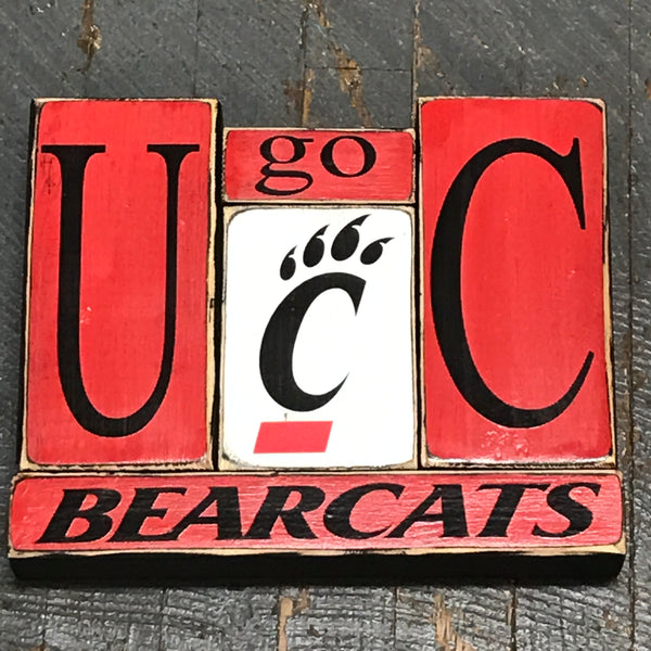 Hand Crafted Wood Word Block Set Football College University Cincinnati Bearcats Decoration