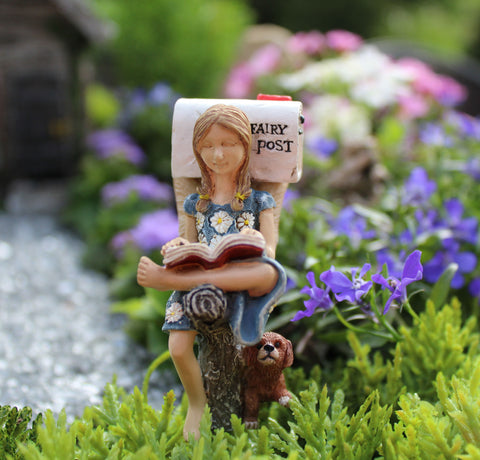 Fairy Garden Fairy Pixie 'Waiting on Mail' Statue Miniature
