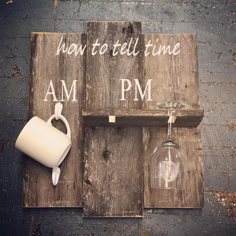 How To Tell Time Wine Coffee Wooden Primitive Rustic Coffee Cup Wine Glass Holder Wall Rack