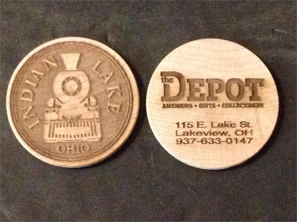 Hand Crafted Wooden Nickel Tourist Collector Coin The Depot Downtown Lakeview Indian Lake