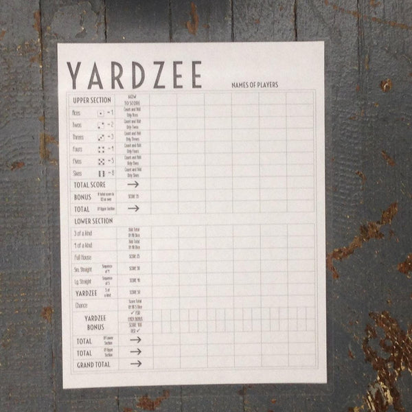 Classic Yahtzee Yardzee Outdoor Dice Game Score Card