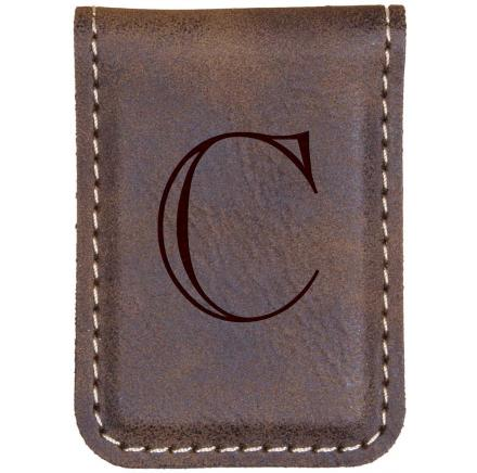 Engraved Leather Money Clip Monogram Initial