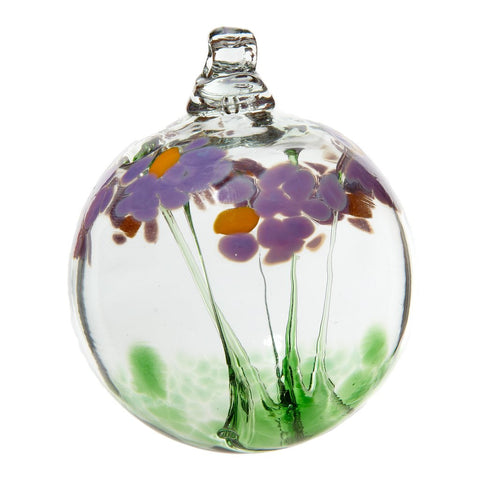Hand Blown Glass Ornament Globe Best Wishes Blossom Orb Ball by Kitras Art Glass