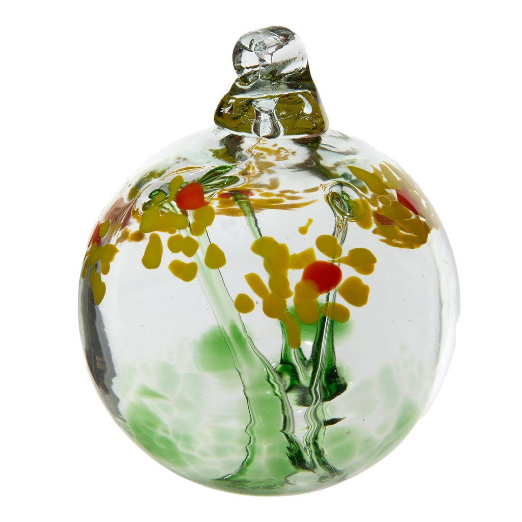 Hand Blown Glass Ornament Globe Celebration Blossom Orb Ball by Kitras Art Glass