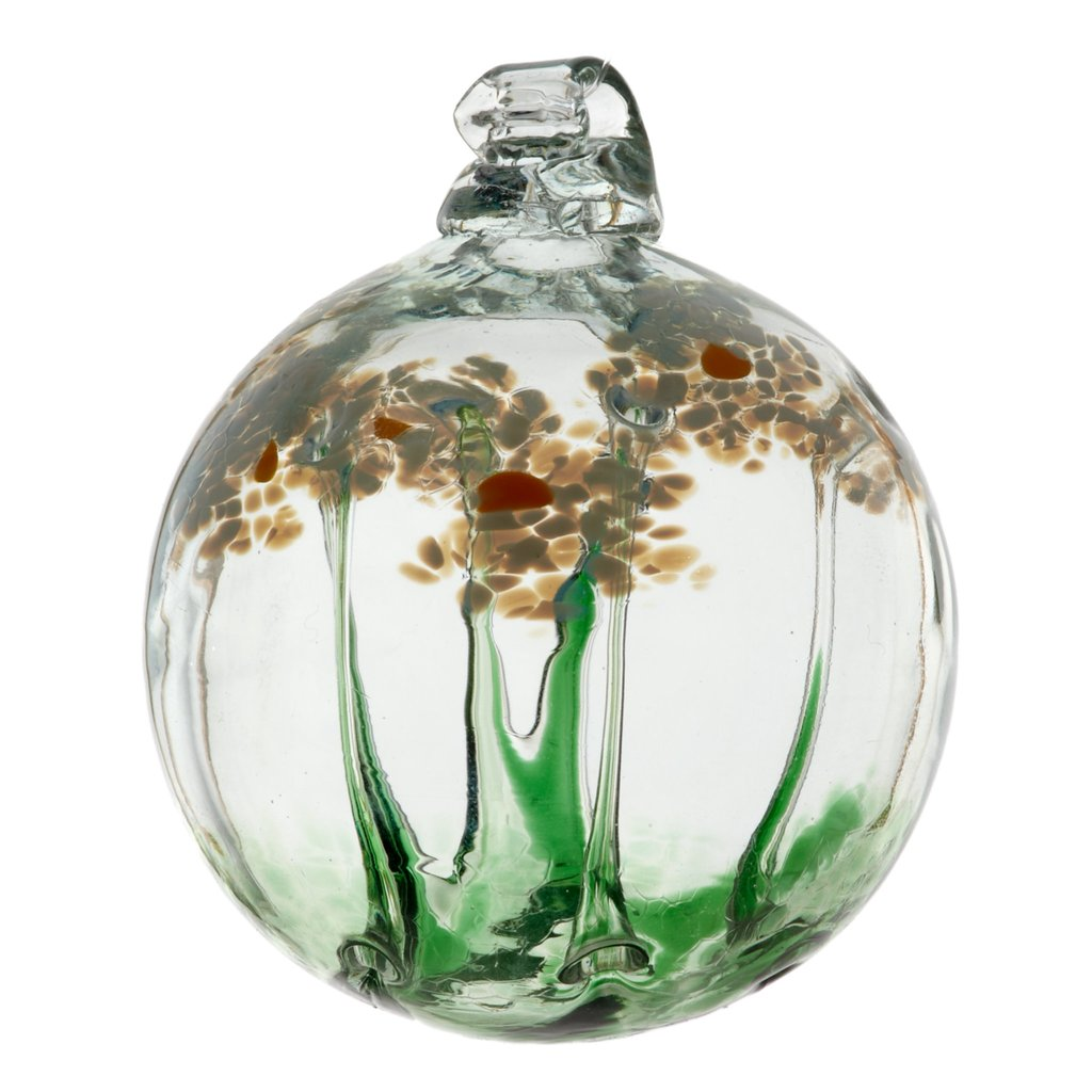 Hand Blown Glass Ornament Globe Friendship Blossom Orb Ball by Kitras Art Glass