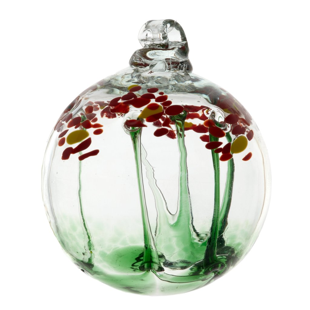 Hand Blown Glass Ornament Globe Just Because Blossom Orb Ball by Kitras Art Glass