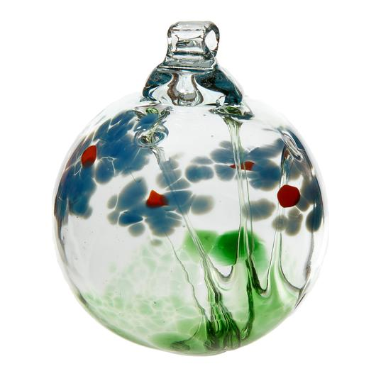 Hand Blown Glass Ornament Globe Sympathy Blossom Orb Ball by Kitras Art Glass