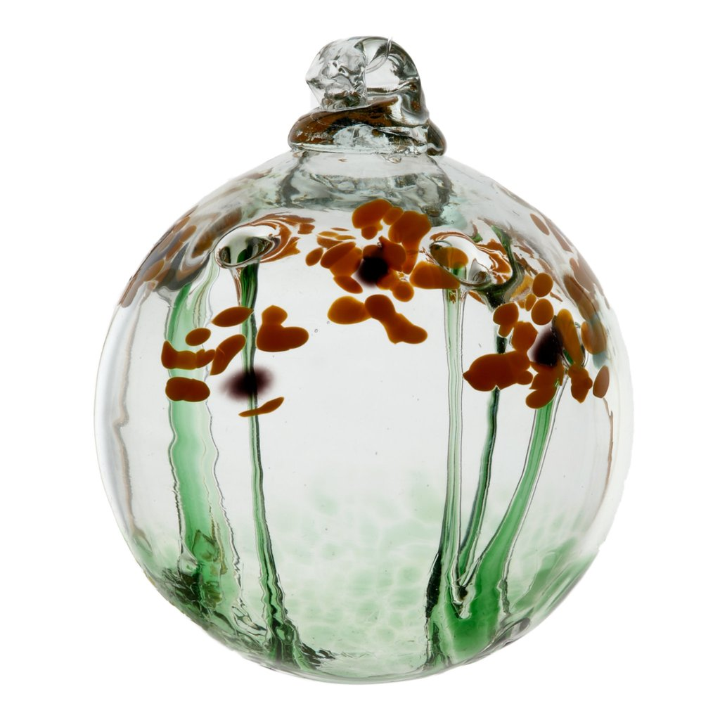 Hand Blown Glass Ornament Globe Thanks Blossom Orb Ball by Kitras Art Glass