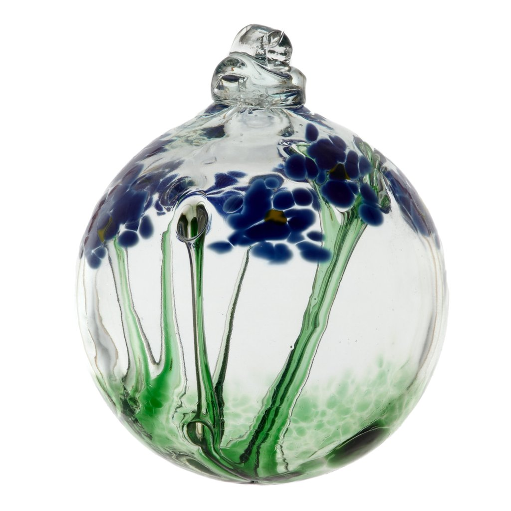 Hand Blown Glass Ornament Globe Thinking of You Blossom Orb Ball by Kitras Art Glass
