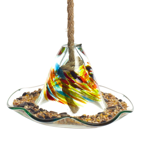 Hand Blown Glass Calico Seed Feeder Thanksgiving by Kitras Art Glass