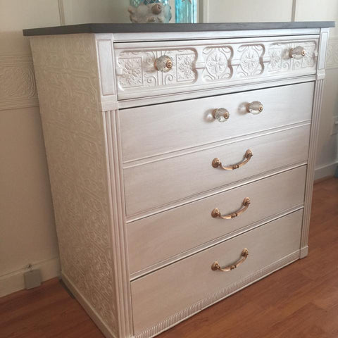 Four Drawer Chest Dresser Metallic Hand Painted Wooden