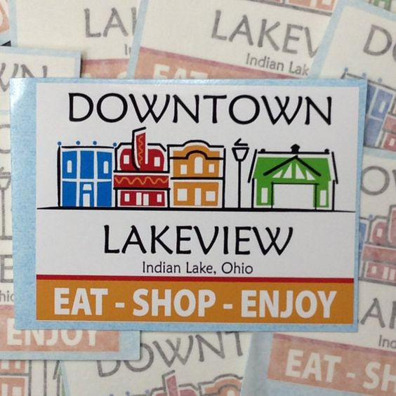 Sticker Decal Tourist Collector Downtown Lakeview Indian Lake Ohio EAT SHOP ENJOY