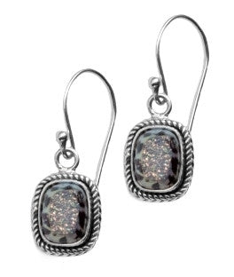 Leopard Druzy Quartz Sterling Silver Dangle Earrings