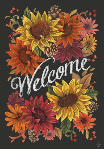 Fall Flowers Welcome Garden Flag