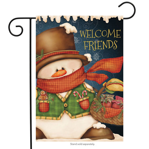Welcome Friends Snowman Garden Flag