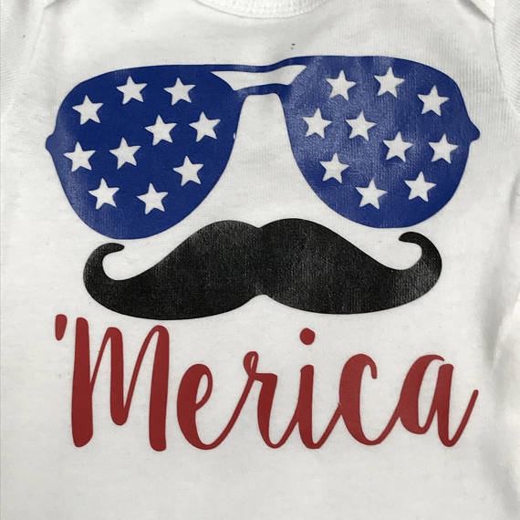 Patriotic 'Merica Mustache Personalized Summer Onesie Bodysuit One Piece Newborn Infant Toddler Outfit