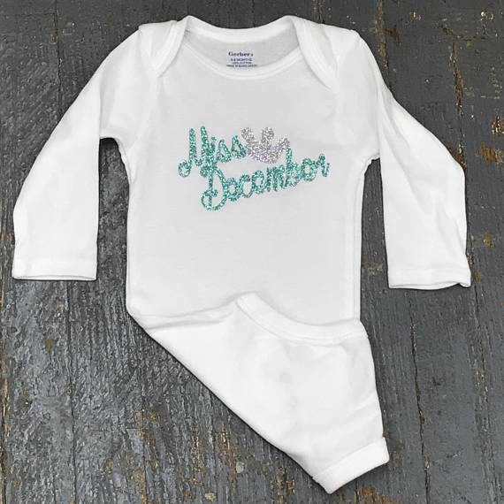 Miss December Glitter Personalized Onesie Bodysuit One Piece Newborn Infant Toddler Outfit