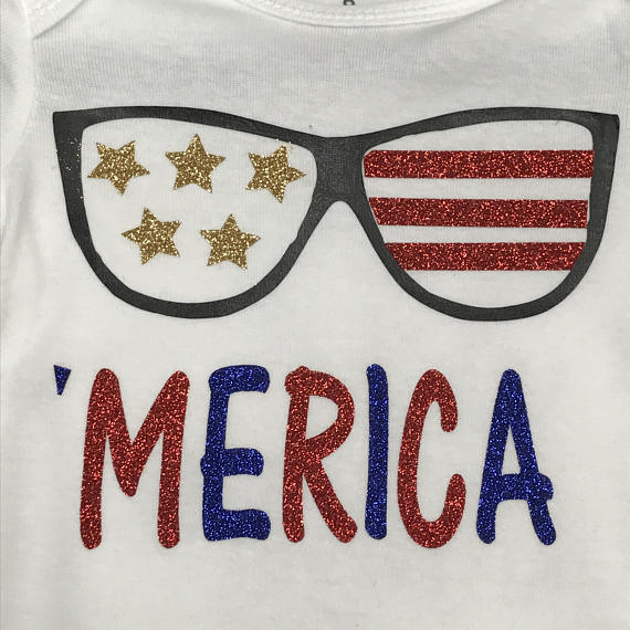 Patriotic 'Merica Glitter Glasses Personalized Summer Onesie Bodysuit One Piece Newborn Infant Toddler Outfit