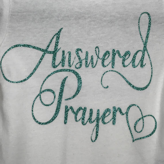 Answered Prayer Glitter Personalized Onesie Bodysuit One Piece Newborn Infant Toddler Outfit