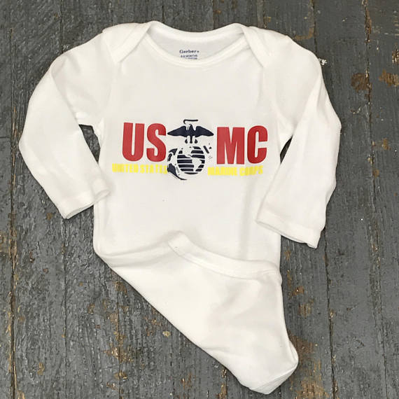 USMC Marine Corps Personalized Summer Onesie Bodysuit One Piece Newborn Infant Toddler Outfit