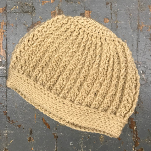 Crocheted Ponytail Hole Messy Bun Beanie Winter Hat Cap Tan