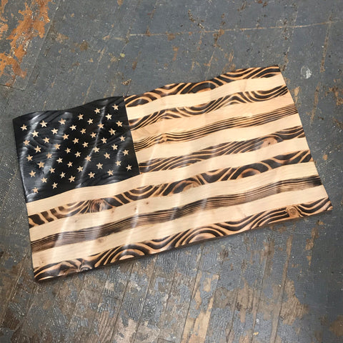 Waving Wood Burned American Flag Dimensional Wall Art Sign