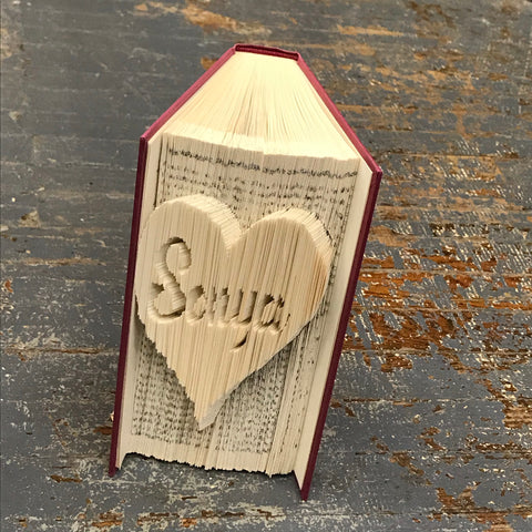 Folded Book Art Custom Folded Pages Hardback Book Heart Custom Name Personalized