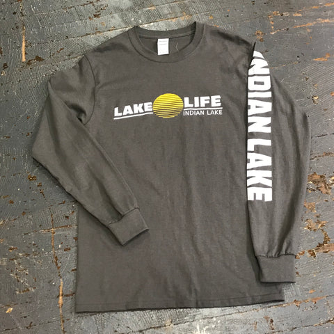 Lake Life Indian Lake Sun Grey Graphic Designer Long Sleeve T-Shirt Tee