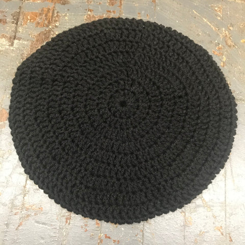 Crocheted Beret Winter Hat Cap Black