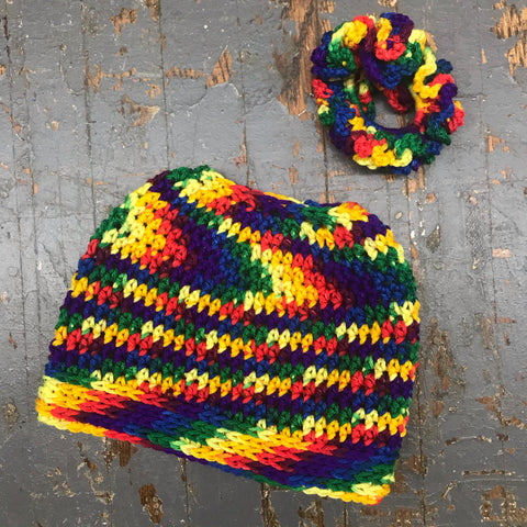 Crocheted Pony Tail Hole Messy Bun Beanie Winter Hat Cap Reggae Multi Color