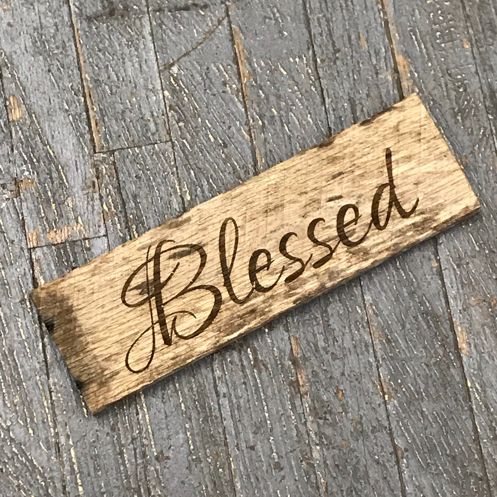 Laser Engraved Reclaimed Wood Blessed Sign