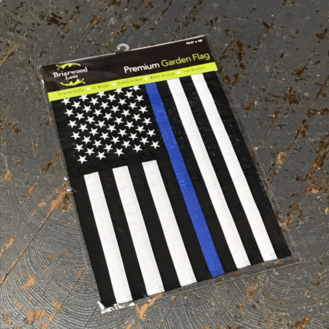 American Flag Embroidered Stars Thin Blue Line Police Garden Flag
