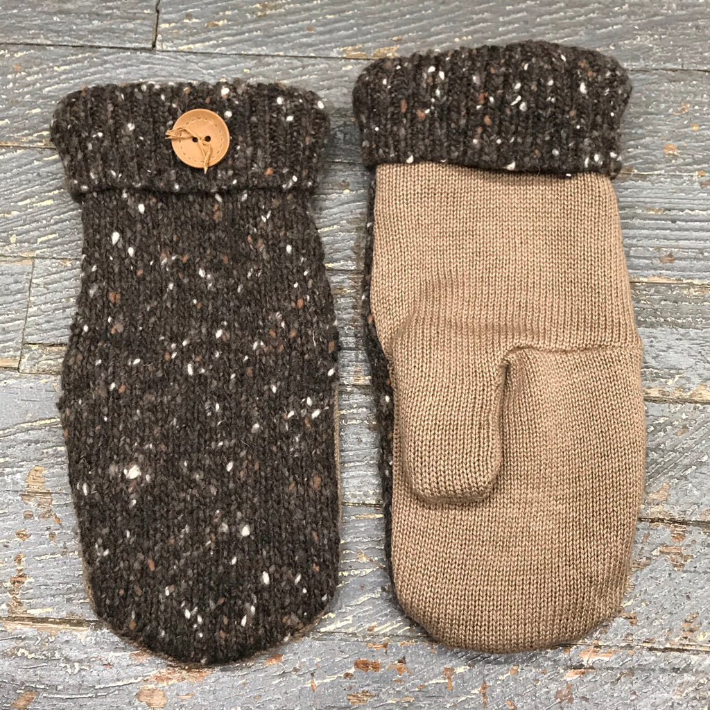 Upcycled Sweater Fleece Lined Mittens Neutral Brown Tan